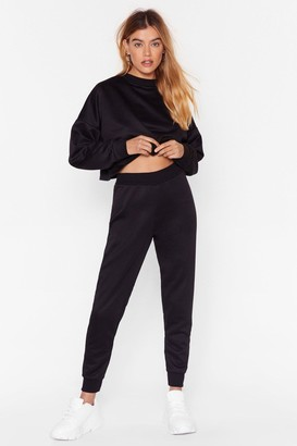 Nasty Gal Womens You Better Run Cropped Sweatshirt and Jogger Set - black - 4