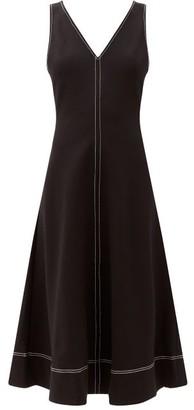 STAUD Dew Topstitched Ponte De Roma Dress - Black