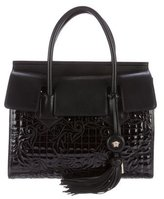 Versace Embroidered Leather Satchel