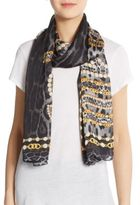 Roberto Cavalli Silk Logo Chain & Leopard-Print Scarf