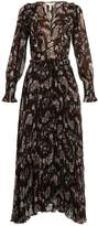 Rebecca Taylor Jewel floral-print striped chiffon dress