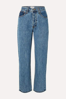 Still Here - Tate Cropped Striped High-rise Straight-leg Jeans - Mid denim