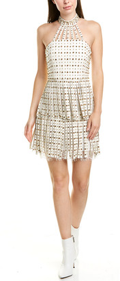 Alice + Olivia Maddie Studded Leather A-Line Dress