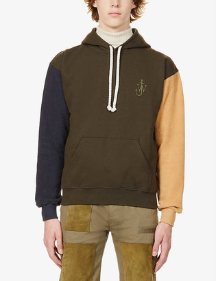 J.W.Anderson Colour-blocked brand-embroidered cotton-jersey hoody