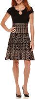 J Taylor Short-Sleeve Pattern Sweater Dress