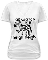 Goodie Two Sleeves White 'Watch Me Neigh Neigh' Zebra V-Neck Tee - Plus