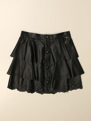 Liu Jo Short Skirt In Synthetic Leather