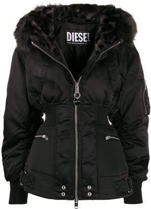 Diesel faux-fur trim hooded jacket