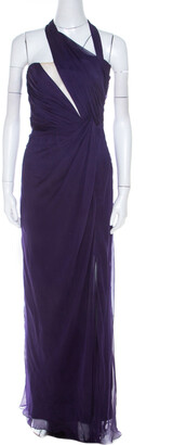 Alberta Ferretti Purple Ruched Silk One Shoulder Evening Gown S