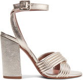 Tabitha Simmons Nora Quilted Metallic Textured-leather Sandals - IT38