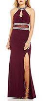 B. Darlin Beaded Mock Neck Illusion Waist Long Dress