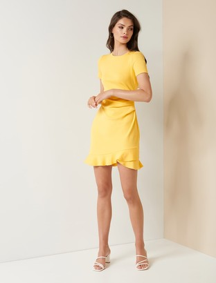 Forever New Annie Rib Short Sleeve Frill Dress - Soft Mango - 10