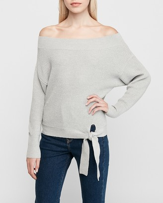 Express Tie Front Thermal Off The Shoulder Sweater