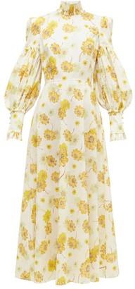 The Vampire's Wife The Dhalia Liberty-print Cotton-poplin Dress - Yellow White
