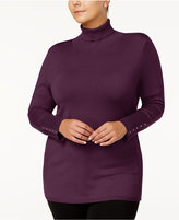 JM Collection Plus Size Turtleneck Rivet-Cuff Sweater, Created for Macy's
