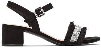 Anne Weyburn Sequined Ruffled Strap Block Heel Sandals