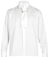 BURBERRY Tie-neck herringbone cotton shirt