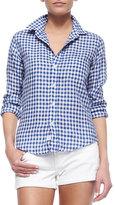 Frank And Eileen Barry Long-Sleeve Gingham Poplin Shirt, Blue/White