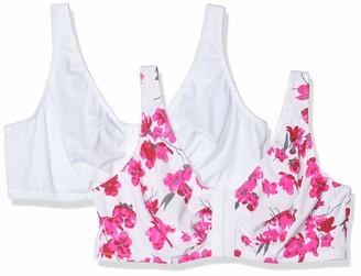 Ulla Popken Women Dopa Watercolor blossoms C / D Cup Bra 2 Pack