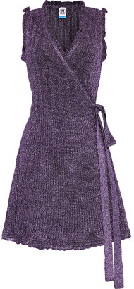 M Missoni Ruffle-trimmed Metallic Crochet-knit Mini Wrap Dress