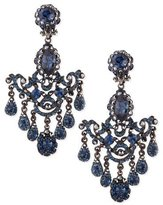 Jose & Maria Barrera Gunmetal & Blue Crystal Chandelier Clip-On Earrings