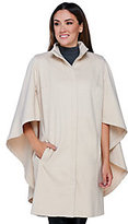 As Is H by Halston Zip Front Knee Length Cape Coat