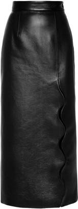 MatãRiel MATARIEL Wave Faux Leather Midi Skirt