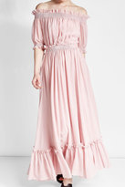 Alexander McQueen Off-Shoulder Dress in Cotton and Silk