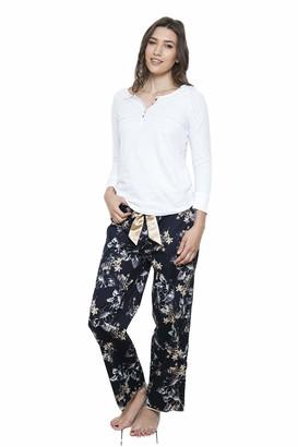 Cotton Real Ladies Pyjamas White Henley PJ Top & Floral Hibiscus Dark Blue Pajama Pants XS to XXL (CRP117-B/1) (L)