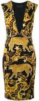 Philipp Plein baroque plunge neck shift dress