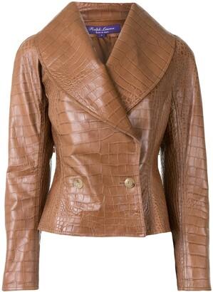 Ralph Lauren Collection Crocodile Effect Leather Jacket