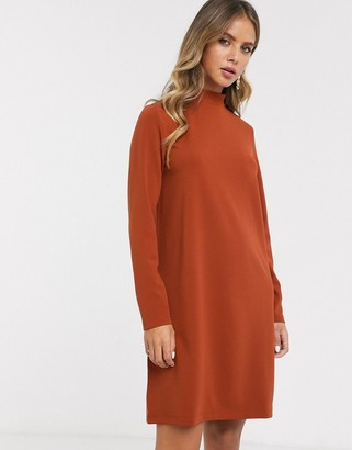 JDY skater dress with high neck in rust