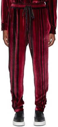 Nahmias Red Silk Velvet Shirt Lounge Pants