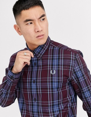 Fred Perry button down collar check shirt in burgundy