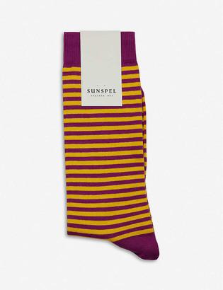 Sunspel Long striped cotton-blend socks
