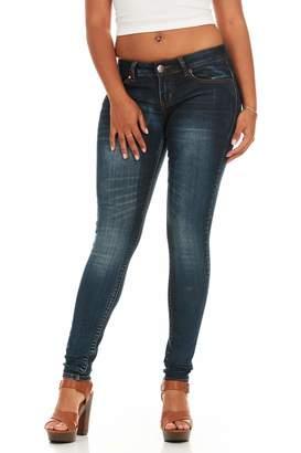 Cover Girl Women's Dark Blue Wash Skinny Jeans Juniors and Plus Size Denim 1