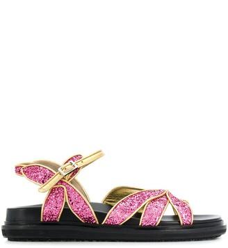 Marni Fussbett petal-shaped glitter sandals