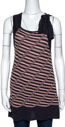 M Missoni Multicolor Striped Knit Shoulder Tie Detail Tunic M