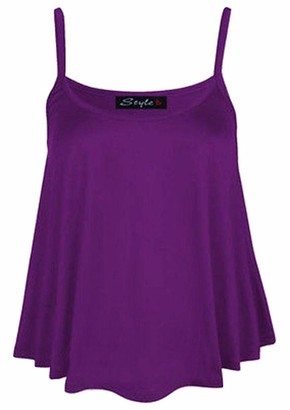 Top Fashion18 Womens Plus Plain Strappy Swing Cami Ladies Sleeveless Stretch Vest Top 8-26 Mint