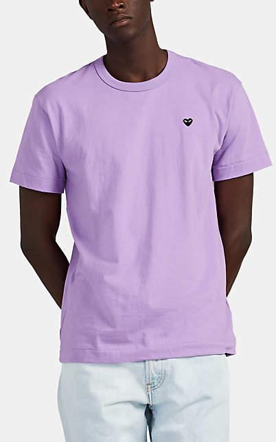 Comme des Garcons Men's Heart-Patch Cotton T-Shirt - Purple