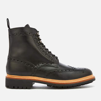 Grenson Men's Fred Leather Commando Sole Lace Up Boots - Black