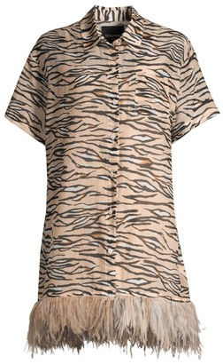 le superbe Club Tropicana Feather-Trimmed Tiger Shirtdress