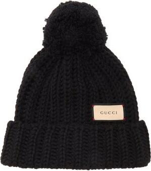 Gucci Logo-tag Wool Bobble Hat - Black