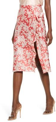 Socialite Floral Ruffle Slit Skirt