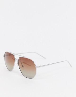 Pilgrim gabriel aviator sunglasses with silver frame
