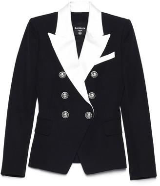Balmain Contrasting Collar Double-Breasted Blazer