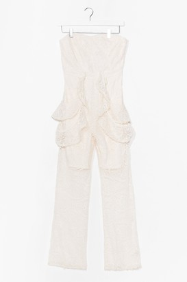 Nasty Gal Womens On Their Lace Bandeau Ruffle Jumpsuit - White - S, White