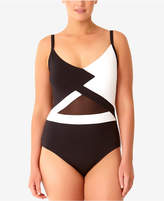 Anne Cole Plus Size Hot Mesh One-Piece Swimsuit Women's Swimsuit