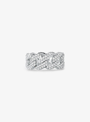 Michael Kors Precious Metal-Plated Sterling Silver Pave Curb Link Ring