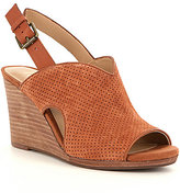 Reba Anny Perforated Suede Peep-Toe Slingback Wedges